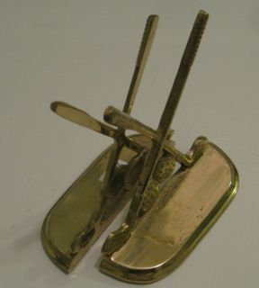 Brass Golf Clubs Golfing Pair of Bookends Book End