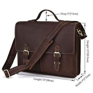 Classic Mens Genuine 100% Leather Briefcase Messenger Bag Laptop 15