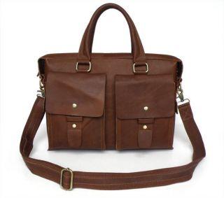 Dark Brown Leather Mens Briefcases Laptop Bag DHL