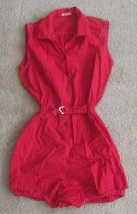 True Vtg 60s 70s Broderick Red Romper w Belt Attached