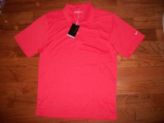 Mens Nike Golf Dri Fit Bright Coral Orange Pink Polo Dress Shirt Top