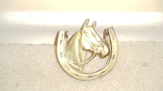 Vtg Brass Horse and Horseshoe Door Knocker