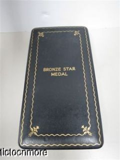 VINTAGE US WWII MILITARY BRONZE STAR MEDAL PIN RIBBON & CASE
