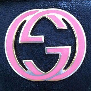 GUCCI GG SIGNATURE LOGO BLONDIE BRITT PINK & BLACK CLUTCH WALLET BAG
