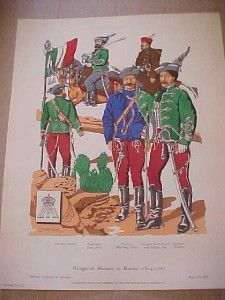 1961 Print Hungarian Hussars in Mexico 1864 1867 Military Uniforms in