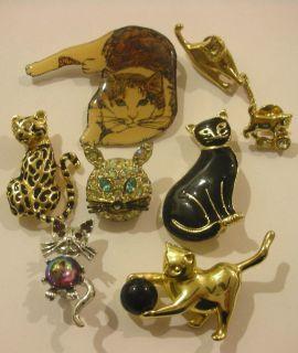 Vintage Jewelry Cat Pin Brooch Lot Rhinestone Enamel