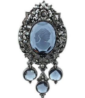 New Lady Cameo Brooch Pin Gray White Glass Rhinestone Ornate Victorian