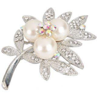 Stylish Brooch Pin Leaf Style Clear Rhinestone Crystal Imitation Pearl