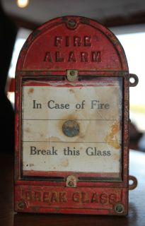 Red Cast Iron Fire Alarm Box Original In Case of Fire Break This Glass