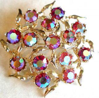 Beautiful Aurora Borealis Crystal Brooch Vintage Estate Jewelry