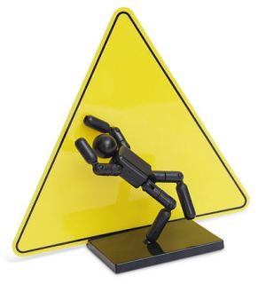 Stickman Action Figure, Poseable Stick Man Warning Caution Background