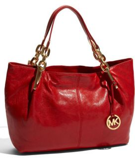 Michael Kors Ines Large Shoulder Tote Red Leather $448