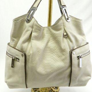 Michael Kors Auth Ivory Leather Brookton East West Tote Handbag Purse