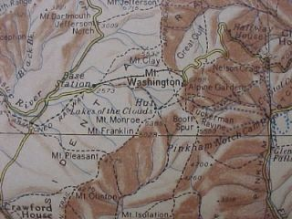 1937 Illustrated Map Mount Washington White Mountains North Conway New