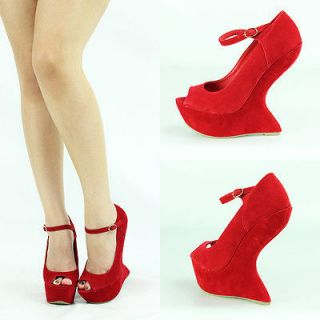 SEXY RED OPEN PEEP TOE MARY JANE HIGH HEEL LESS PLATFORM WEDGE WOMEN