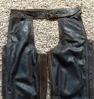 Harley Davidson Brown Billings Leather Chaps Men Medium