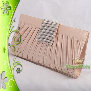 Satin Evening Clutch Handbag Bag Purse Wedding Bridal Party Prom 018