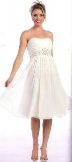 Informal Wedding Prom Gown Dress Gala Short White Chiffon Sz 18 Shawl