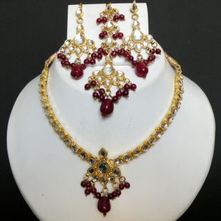 Indian Gold Plated Kundan Ruby Beads Bridal Necklace Set KN496