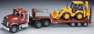 Bruder Toys America 1 16 MACK Granite Low Truck Trailer w JCB Backhoe