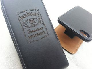 JACK DANIELS Black GENUINE LEATHER flip phone case cover Apple