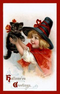 Brundage Halloween Witch Girl Repro Greeting Card Holds Black Cat