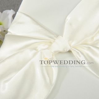 Hot White Satin Elegant Bowknot Wedding Guest Book and Pen Set