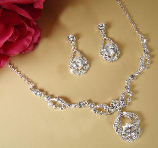 New Rhinestone Crystal Prom Bridal Jewelry Necklace Set