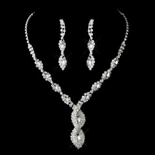 Bridal Jewelry Set Clear Silver Rhinestone Spiral Necklace Earring Set