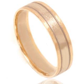 Inlay Brushed Wedding Band 14K White Yellow Gold Mens Ring Size 6 12