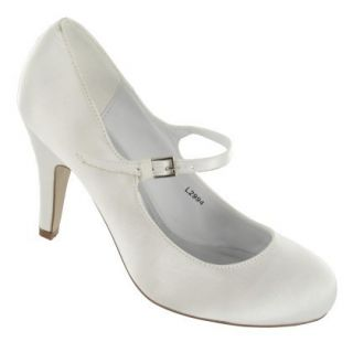 White Satin High Heel Wedding Bridal Shoes Ladies Size 3 8