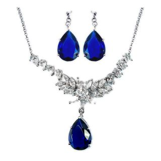 Wedding Jewelry Set Jewellery Pear Cut Blue Sapphire Pendant Earrings