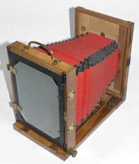 Vintage Bruckner Paris Wooden Field View Camera 13x18cm 5x7 Red