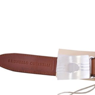 Brunello Cucinelli Brown Leather Sterling Silver Buckle Belt US 37 38