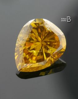 14CT Pear Fancy Deep Orange Yellow GIA Certified Loose Diamond