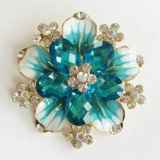 Vary Colors Big Swarovski Crystal Golden Flower Pin Brooch 1110