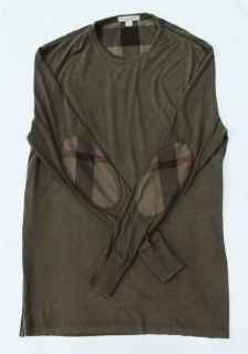 Authentic Burberry Brit Check Mens T Shirt Polo Elbow Patch Long