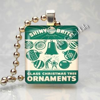 SHINY BRITE VINTAGE CHRISTMAS TREE ORNAMENTS Scrabble Tile Pendant