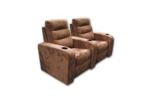 Buccaneer Home Theater Seating 2 Brown Microfiber Chair