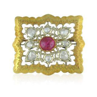 RARE Vintage Buccellati 18K Gold Diamond Ruby Brooch