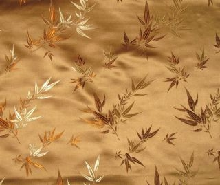 Silk Brocade Fabric Bronze Bamboo 1 3 Yard Remnant
