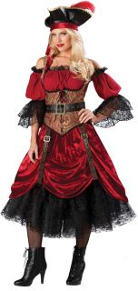 Sexy Pirate Swashbucklin Scarlet Elite Adult Womens Costume Dress Lace