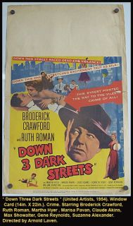 Three Dark Streets Movie Poster 1954 Crime Broderick Crawford