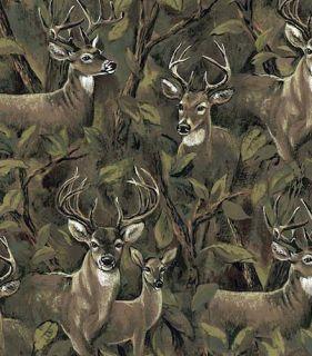 Deer in The Forest Bucks Doe Animal Print Fleece Fabric