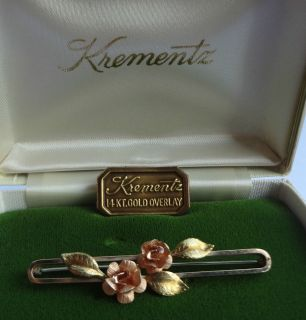 Roses Yellow Rose Gold Flowers Pin Signed Krementz 14k Gold Overlay