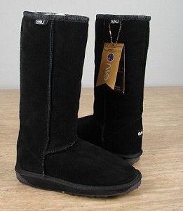 99 Emu Bronte Hi Women Australian Merino Wool Suede Boot Black Sz 5 3