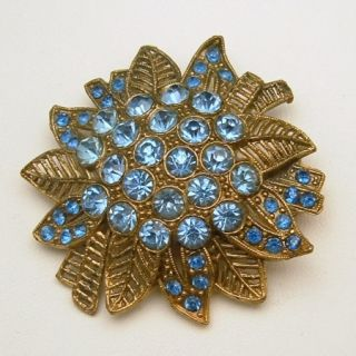 LITTLE NEMO L/N Vintage Large Flower Brooch Pin Blue Rhinestones