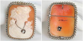 14k Gold Shell Cameo Diamond Art Nouveau Antique Brooch Pendant