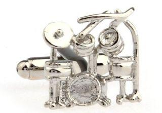 Cufflinks Silver Drum Drummer Set Mapex Buddy Tama Rich DW Spaun