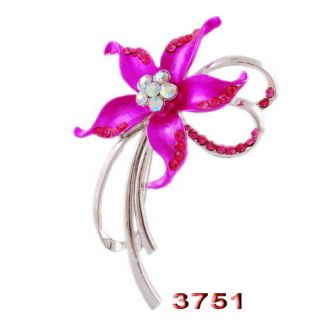 6P Flower Brooches Pins 60 39mm AB Colorful Czech Rhinestone Crystal